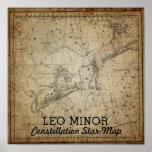 Leo Minor Constellation Star Map Lynx Poster