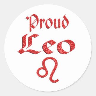 Leo orgulloso pegatina redonda