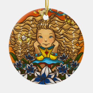Leo Double-Sided Ceramic Round Christmas Ornament