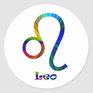 Leo Psychedelic Round Stickers