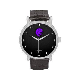 Leo púrpura violeta relojes