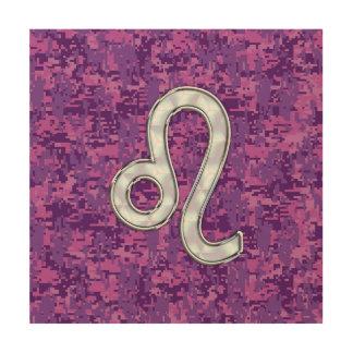 Leo Sign on Pink Fuchsia Digital Camouflage