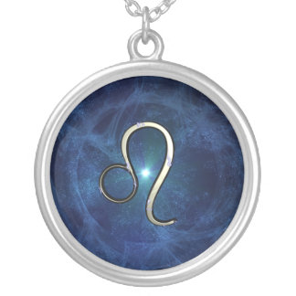 Leo symbol round pendant necklace