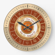 LEO - The Lion Astrological Sign Large Clock