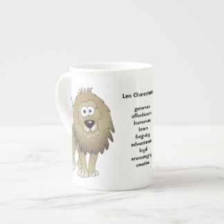 Leo the lion cartoon on a mug. tea cup