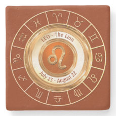 LEO - The Lion Horoscope Symbol Stone Coaster