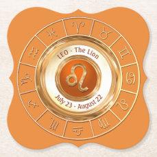 LEO - The Lion Zodiac Sign Paper Coaster
