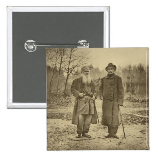Leo Tolstoy and the author Maxim Gorky 2 Inch Square Button