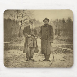 Leo Tolstoy and the author Maxim Gorky Mousepads