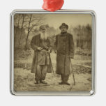 Leo Tolstoy and the author Maxim Gorky Square Metal Christmas Ornament