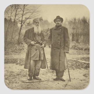 Leo Tolstoy and the author Maxim Gorky Square Sticker