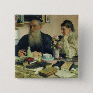 Leo Tolstoy with his wife in Yasnaya Polyana Pinback Button