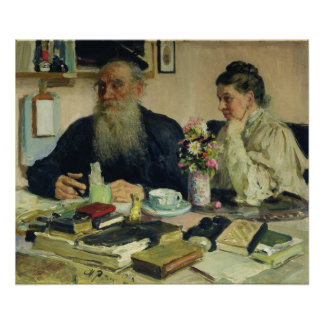 Leo Tolstoy with his wife in Yasnaya Polyana Poster