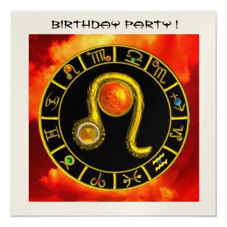 LEO TOPAZ ,bright yellow red orange black gold 5.25x5.25 Square Paper Invitation Card