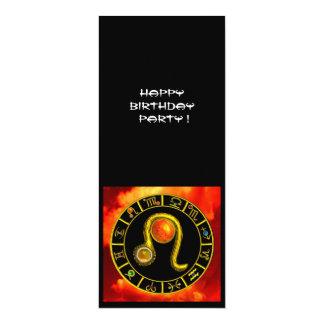 LEO TOPAZ ,bright yellow red orange black 4x9.25 Paper Invitation Card