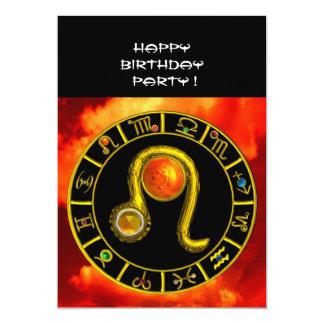 LEO TOPAZ ,bright yellow red orange black 5x7 Paper Invitation Card