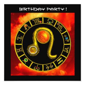 LEO TOPAZ ,bright yellow red orange black 5.25x5.25 Square Paper Invitation Card