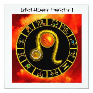 LEO TOPAZ ,bright yellow red orange black white 5.25x5.25 Square Paper Invitation Card