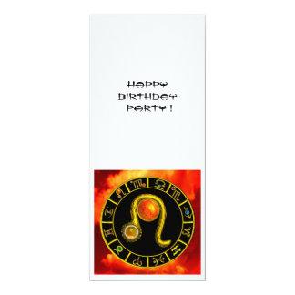 LEO TOPAZ ,bright yellow red orange black white 4x9.25 Paper Invitation Card