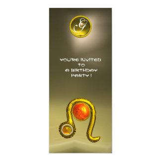LEO TOPAZ MONOGRAM yellow orange red grey agate 4x9.25 Paper Invitation Card