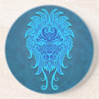Leo tribal azul complejo posavaso para bebida