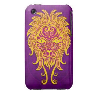 Leo tribal púrpura y amarillo complejo Case-Mate iPhone 3 coberturas