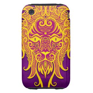 Leo tribal púrpura y amarillo complejo, firmemente tough iPhone 3 protectores