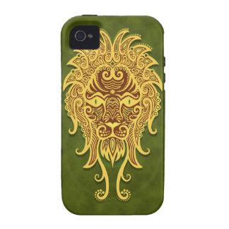 Leo tribal verde complejo iPhone 4/4S carcasa