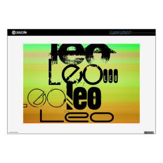 "Leo; Vibrant Green, Orange, & Yellow 15"" Laptop Skin"