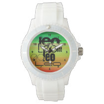 Leo; Vibrant Green, Orange, & Yellow Wrist Watch