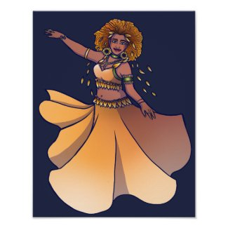 Leo Zodiac Belly Dancer Goddess Poster