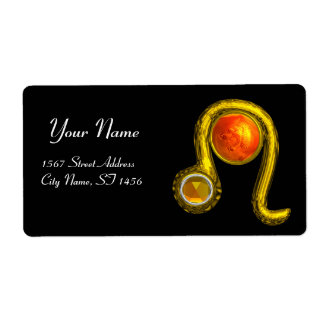 LEO ZODIAC BIRTHDAY JEWEL YELLOW TOPAZ Gold Shipping Label