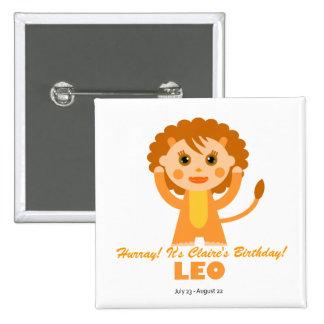 Leo Zodiac for Kids Pinback Button