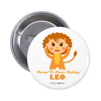 Leo Zodiac for Kids Button