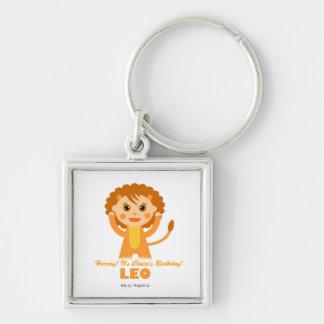 Leo Zodiac for Kids Silver-Colored Square Keychain