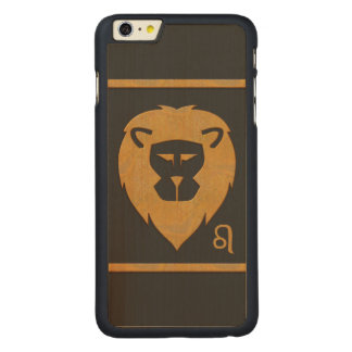 Leo Zodiac Lion Head Marble Effect Carved Maple iPhone 6 Plus Slim Case