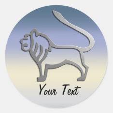 Leo Zodiac Lion Star Sign In Light Silver Classic Round Sticker at Zazzle
