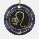 Leo Zodiac Sign Double-Sided Ceramic Round Christmas Ornament