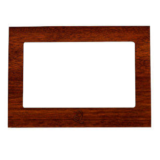 Leo Zodiac Sign in Brown Mahogany wood style Magnetic Frame