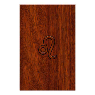 Leo Zodiac Sign in Brown Mahogany wood style Stationery