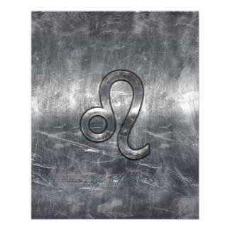 Leo Zodiac Sign in Grunge Distressed Style Flyer