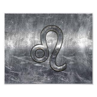 Leo Zodiac Sign in Grunge Distressed Style Photo Print