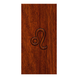 Leo Zodiac Sign in Mahogany wood style Card