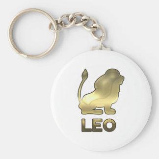 Leo zodiac sign - old gold edition basic round button keychain