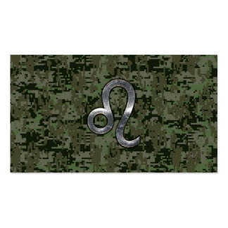 Leo Zodiac Sign on Green Digital Camouflage Business Card
