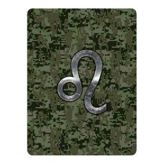 Leo Zodiac Sign on Green Digital Camouflage Card