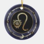 Leo Zodiac Sign Double-Sided Ceramic Round Christmas Ornament