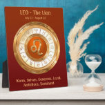 """LEO Zodiac Sign Personality Traits Plaque<br><div class=""""desc"""">Personalize this astrology-themed plaque for someone born between July 23 - August 22! Their birth sign is Leo or The Lion, the 5th sign of the Zodiac, ruled by the Sun. Their lucky color is Orange and their sign&#39;s metal is Gold. This design features an orange disc with golden border...</div>"""