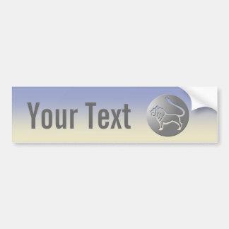Leo Zodiac Star Sign Silver Premium Bumper Sticker
