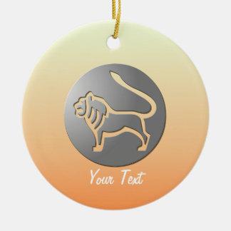 Leo Zodiac Star Sign Silver Premium Double-Sided Ceramic Round Christmas Ornament